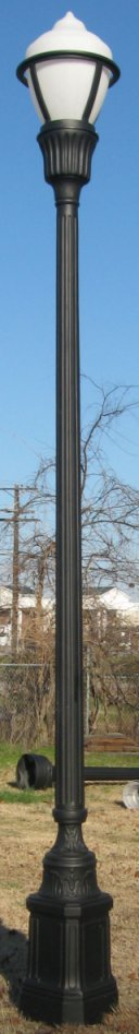 cast aluminum street lamp with beale street memphis design base and ballast holder with globe guard